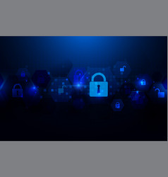 abstract technology and security icons concept vector image