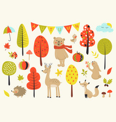 autumn forest in set with cute forest vector image