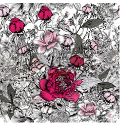 beautiful elegant pattern with hand drawn peony vector image