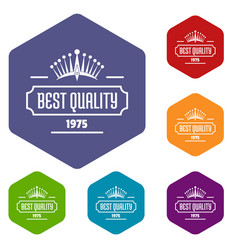 best quality icons hexahedron vector image
