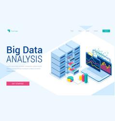 Big data analysis isometric landing page banner vector