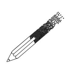 Black contour pencil with end part pixelated vector