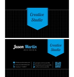 Black creative business card vector image
