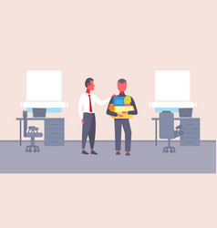 Boss welcoming new job vacancy employee with stuff vector