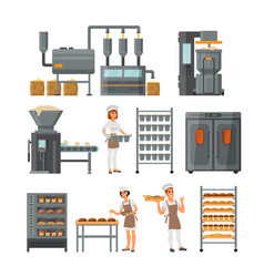 Bread production icon set vector