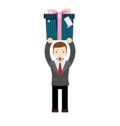 Businessman holding a gift box vector