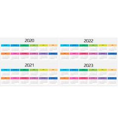 Calendar 2020 2021 2022 2023 template 12 vector
