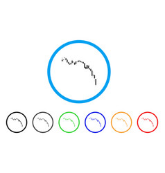 candlestick chart down rounded icon vector image