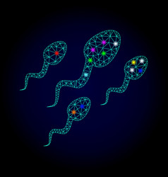 Carcass mesh sperm cells with glare spots vector