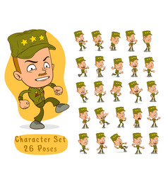 cartoon army soldier boy big set for animation vector image