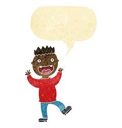 Cartoon crazy happy man with speech bubble vector