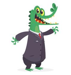 Cartoon funny smiling crocodile wearing toxedo vector