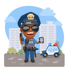 cartoon policeman on street vector image