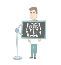caucasian roentgenologist during x ray procedure vector image