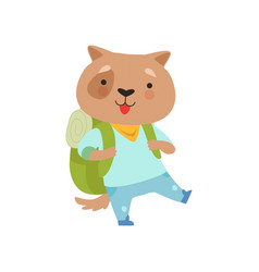 Cheerful tourist dog with backpack cute animal vector