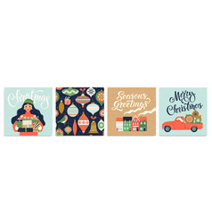 christmas and new year s template set for greeting vector image