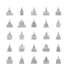 church icons set outline style vector image