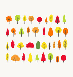 Colorful tree collection autumn greeting vector