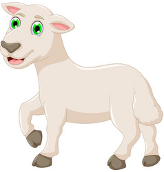 cute baby goat cartoon posing vector image