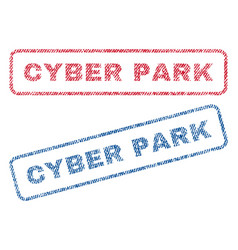 Cyber park textile stamps vector