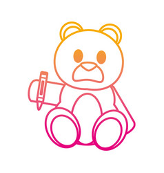 Degraded line bear teddy cute toy with crayon vector