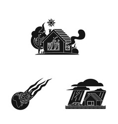 design of natural and disaster logo set of vector image