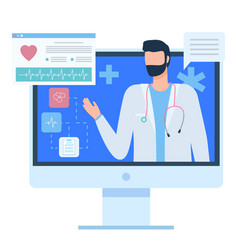 doctor or assistant cardiogram icon pc vector image