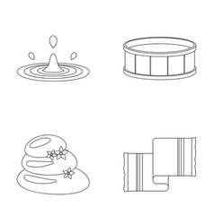 Drops of water pool or basin with hot water spa vector