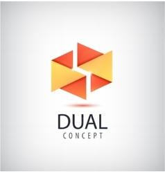 Dual concept logo origami 2 parts icon vector