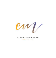 E m em initial letter handwriting and signature vector