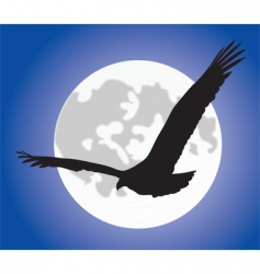 Eagle silhoutte over moon vector