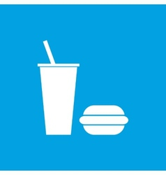 Fast food white icon vector image