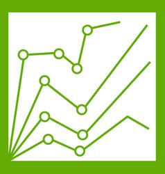 financial statistics icon green vector image