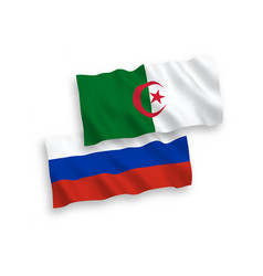 Flags algeria and russia on a white background vector