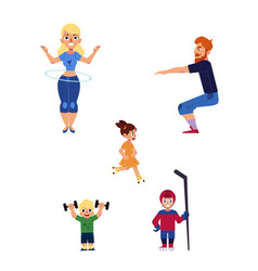 Flat boy girl kids adult man woman sports vector