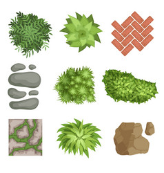 Flat set of landscape elements green vector