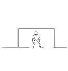 football goalkeeper boy stands at goal one line vector image