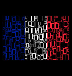 france flag mosaic of contour rectangle icons vector image