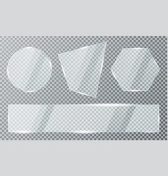 Glass plates set on transparent background vector