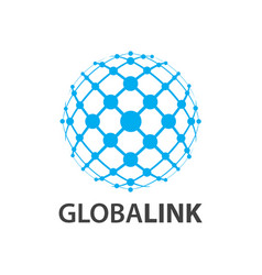 Global link globe world line logo concept design vector
