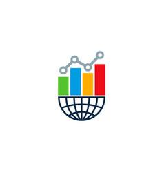 globe statistic logo icon design vector image