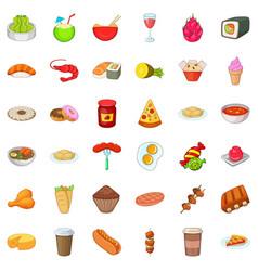 Good dish icons set cartoon style vector