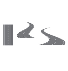 Gray road with white markings - set vector