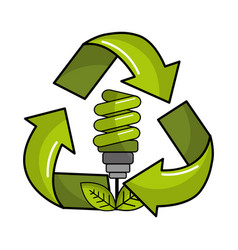 Green save bulb with leaves inside of recycling vector