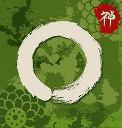 Green zen circle traditional enso vector image