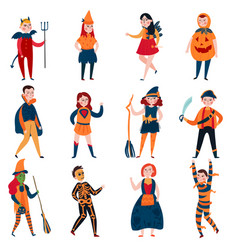 halloween mystical kids set vector image