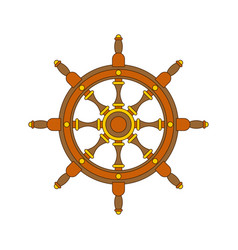 handwheel isolated rudderl ship on white vector image