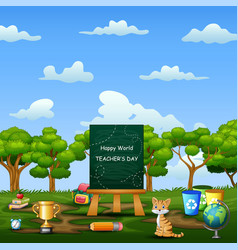 happy teachers day education tools and chalkboard vector image