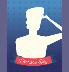 happy veterans day silhouette soldier on dotted vector image