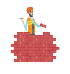 Hindu bricklayer working with spatula and brick vector